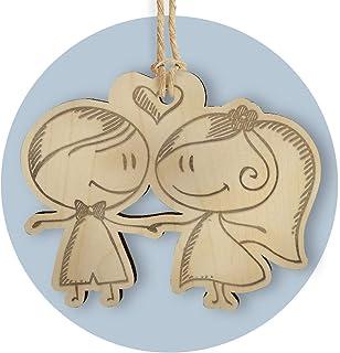 FAMA 5 Cartellini tag in legno per bomboniere matrimonio personalizzabili con incisione al laser