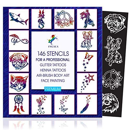 INGALA PREMIUM Schablonenset - 146 kunstvolle Glitzer Tattoo Schablonen für Kinder, Teenager und Erwachsene. Verwendbar als Henna Tattoo, Airbrush, Schmink- und Face Painting Schablonen.