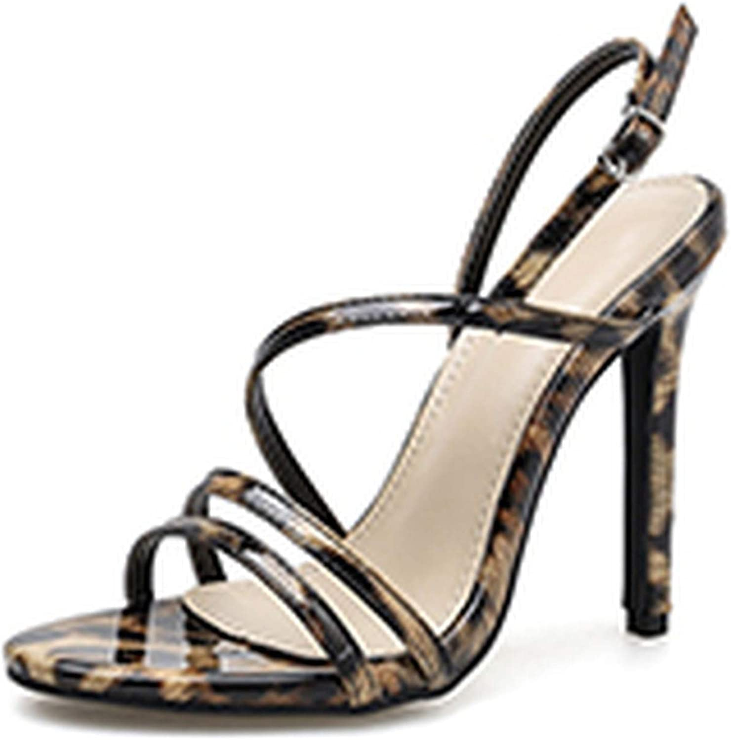 HuangKang Buckle Strap Gladiator Sandals Thin Heels Party shoes for Women Fashion Sexy Leopard Women Sandals