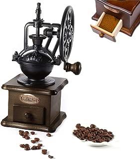 BISOZER Manual Coffee Grinder, Retro Style Wooden Coffee Grinder, Classic Spice Hand Grinding Machine Hand-crank Roller Drive Grain Burr Mill Coffee Machine