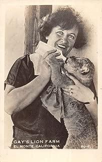 El Monte California Gays Lion Farm Feeding Real Photo Antique Postcard K80261