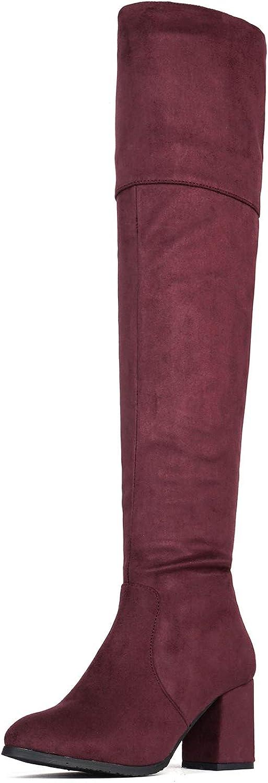 DREAM PAIRS Women's Popular overseas Thigh High Block Heel The Over Knee Seasonal Wrap Introduction Boots