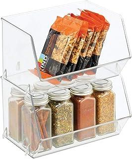 mDesign bac de rangement pour nourriture – bac alimentaire avec grande ouverture pour réfrigérateur, étagère ou congélateu...