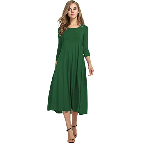 16c4ce942df62 Hotouch Women's 3/4 Sleeve A-line and Flare Midi Long Dress