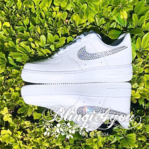 HANDMADE Beedazzled Swarovski crystal Bling NIKE Swooshes Logo for Women White Nike Air Force 1 Shoes Bling Wedding shoes