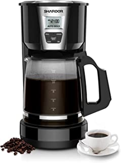 SHARDOR Drip Coffee Maker, 12 Cup Programmable Brew Coffee Machine 3.0, Automatic Start and Shut Off, Brew Strength Control, Warming Plate, Glass Carafe, 60oz, Black