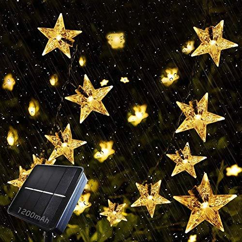 Cadena de luces solares de estrellas, 7 m, 50 LED, resistente al agua, con 8 modos para jardín de árboles (blanco cálido)