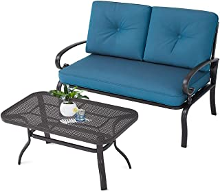 Incbruce Outdoor Patio Furniture Loveseat 2-Piece and Bistro Coffee Table Set Furniture Bench with Cushion, Lawn Front Porch Garden, Wrought Iron Frame, Peacock Blue
