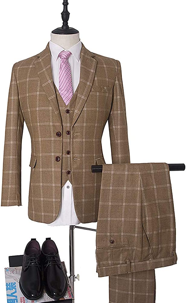 Peak Lapel Two Botton Navy Blue Plaid Men 3 Pieces Suit Formal Business Suit Wedding Groom Suit