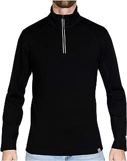 MERIWOOL Mens Merino Wool Half Zip Mock Turtleneck Pullover Sweater