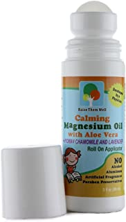 Kid Safe Calming Magnesium Oil with Roman Chamomile and Lavender Essential Oils. Blended with Aloe Vera so It Won't Burn or Itch. Easy Roll on Applicator.