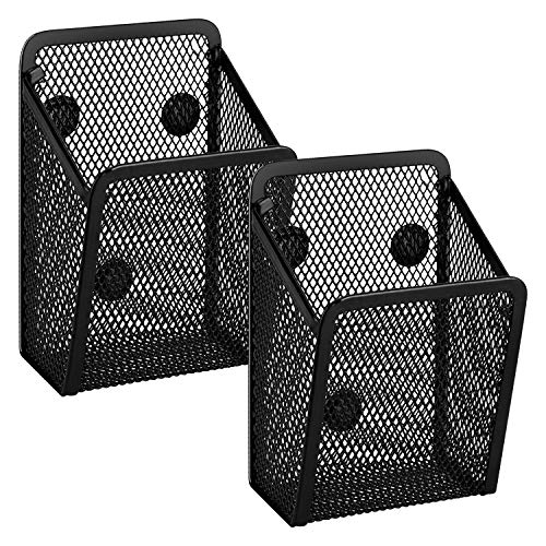TOYMIS 2Pcs Magnetic Pencil Holders Hanging Mesh Storage Baskets with Magnets for Whiteboard, Refrigerator, Locker Accessories