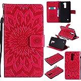 pinlu® PU Leder Tasche Etui Schutzhülle für LG Stylus 2 / Stylus 2 Plus Lederhülle Schale Flip Cover Tasche mit Standfunktion Sonnenblume Muster Hülle (Rot)
