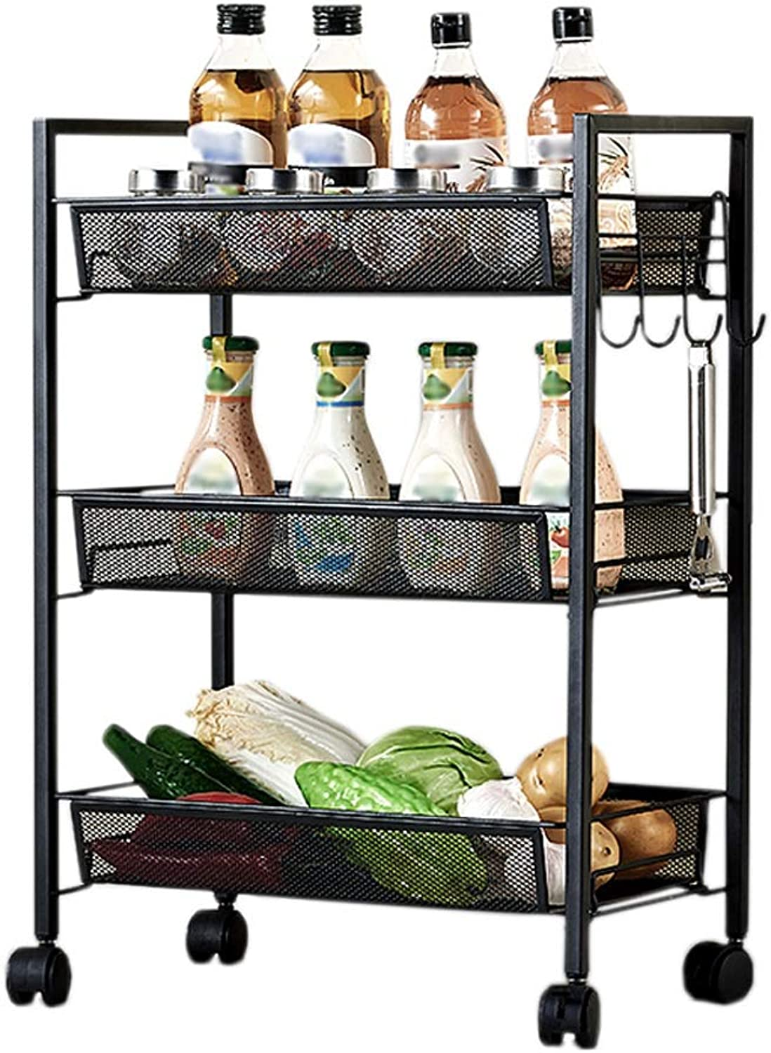 HUYP 3-Layer Black Fashion Personality Simple Rack Kitchen Bedroom Study Office