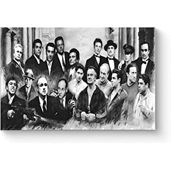 """HAOSHUNDA Gangster Collage Poster Oil Painting on Canvas Posters and Prints Decoracion Wall Art Picture Living Room Wall (12"""" x 18"""", Artwork - 03)"""