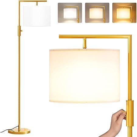 Lampadaire sur Pied Salon, SUNMORY Lampe sur pied avec 3 Températures de Couleur 9W LED Ampoule, Lampadaire salon, E27 Socket(Max 60W), Lampadaires pour Salon, Chambre, Bureau,Lampadaire Moderne D'or