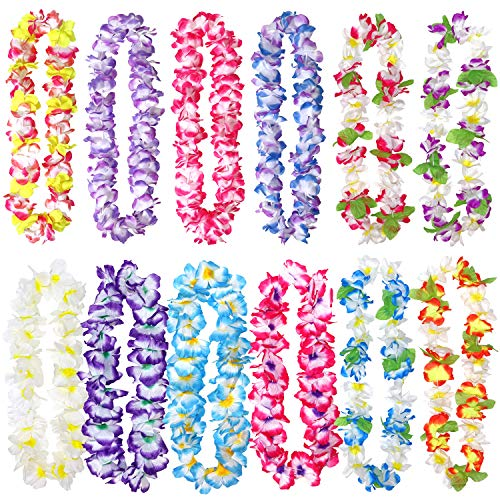 12 Pack Thickened Hawaiian Leis Floral Necklace for Hula Dance Luau Party, Party Favors Celebrations and Decorations