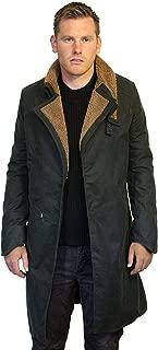 Mens Ryan Gosling Officer K Blade Runner 2049 Green Cotton Fur Trench Long Coat