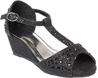 حذاء بكعب وتدي مفتوح من الأمام لامع وحجر الراين للفتيات من أوليفيا كيه (رضيع/فتاة صغيرة)