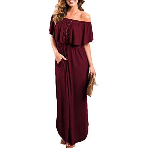 dd0c18af38414 Sarin Mathews Womens Off The Shoulder Ruffle Party Dress Casual Side Split  Beach Long Maxi Dresses