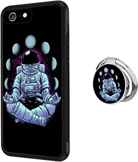 iPhone 6s 6 Case with Holder Ring Astronaut Buddha Soft Black TPU Rubber and PC Anti-Slip Grip Cover Case, Shockproof Defend Protective Phone Case for iPhone 6s 6