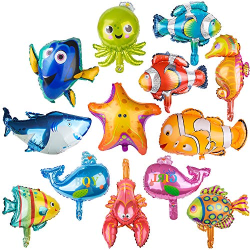 PROLOSO Foil Fish Balloons Decoration Aluminum Sea Creatures Tropical Fish Mylar Self-Sealing Baby Shower Party Pack of 13 (Large)