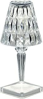 QXXZ Lampe de Table en Cristal Acrylique,LED Tricolore Lampe de Chevet,Cristal de Mode Créatif Lampe de Table USB Touch Ve...