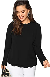 Romwe Women's Long Sleeve Plus Size Tee Scallop Edge Blouse Top