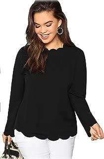 Women's Long Sleeve Plus Size Tee Scallop Edge Blouse Top