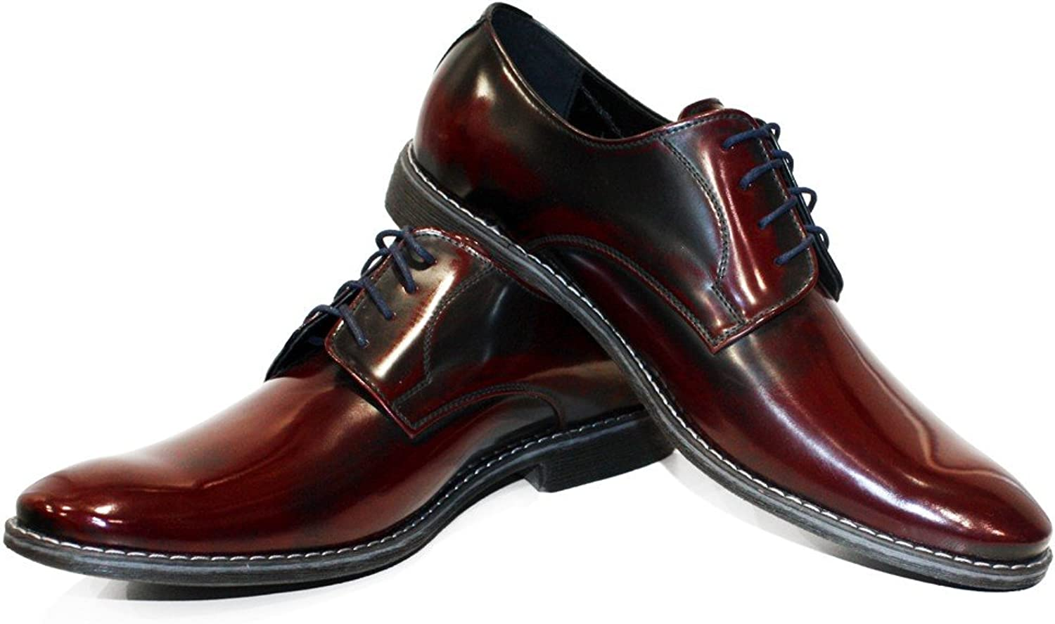 Modello Aborkado - Handmade Italian Leather Mens color Burgundy Oxfords Dress shoes - Cowhide Smooth Leather - Lace-Up