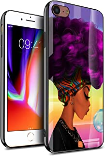 KITATA iPhone 8 Case iPhone 7 Case iPhone SE 2nd Generation 2020 for Girls Slim Fit, African American Women Afro Purple and Black Art Print Design, Protective Impact Resistant Drop Protection