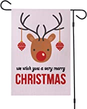 Time Roaming Christmas Deer Garden Flag Winter Double Sided Welcome House Yard Flag, Outside Funny Years Garden Yard Decorations Reindeer Holiday Seasonal Outdoor Decorative Flag 12x18 inch