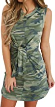 Lotus.Flower Womens Holiday Summer Tied Up Camouflage Print Sleeveless Party Mini Dress (XL, Green)