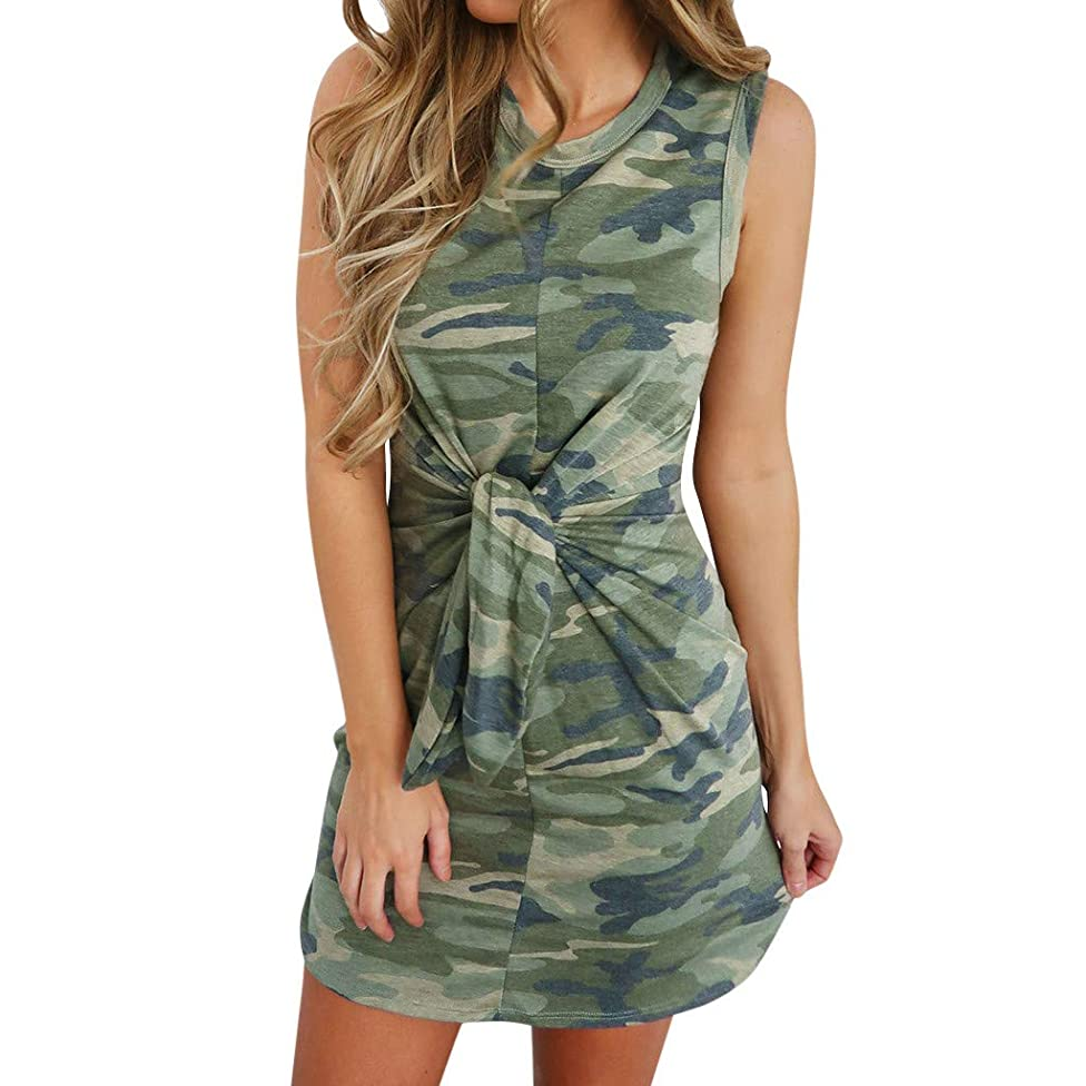 SMALLE_Clothing Tank Dresses for Women Casual,SMALLE???Women Tshirt Dresses Summer Camouflage Sundress Twist Knot Dress