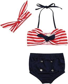 3PCS Neonato Bambina Costumi da bagno cinghie Puntini Costume da bagno bikini da bagno neonato