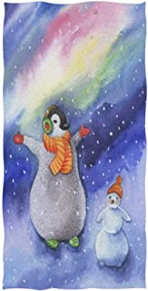 Christmas Penguin Snowman with Snowflake Polar Light On Aurora Night Sky in Purple Soft Bath Towel Absorbent Hand Towels Multipurpose for Bathroom Hotel Gym and Spa 30