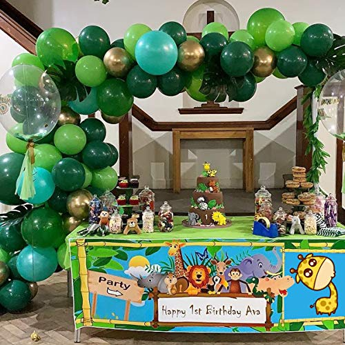 U&X Jungle Safari Theme Balloon Garland Arch Kit Party Supplies 102 PCS Globos Verdes y Dorados para Baby Shower