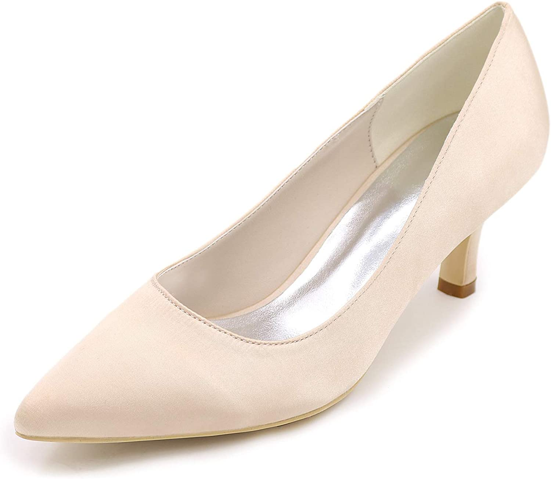 LLBubble Women Kitten Heels Satin Bridal shoes Pointed Toe Slip-on Wedding Pumps 1608-01