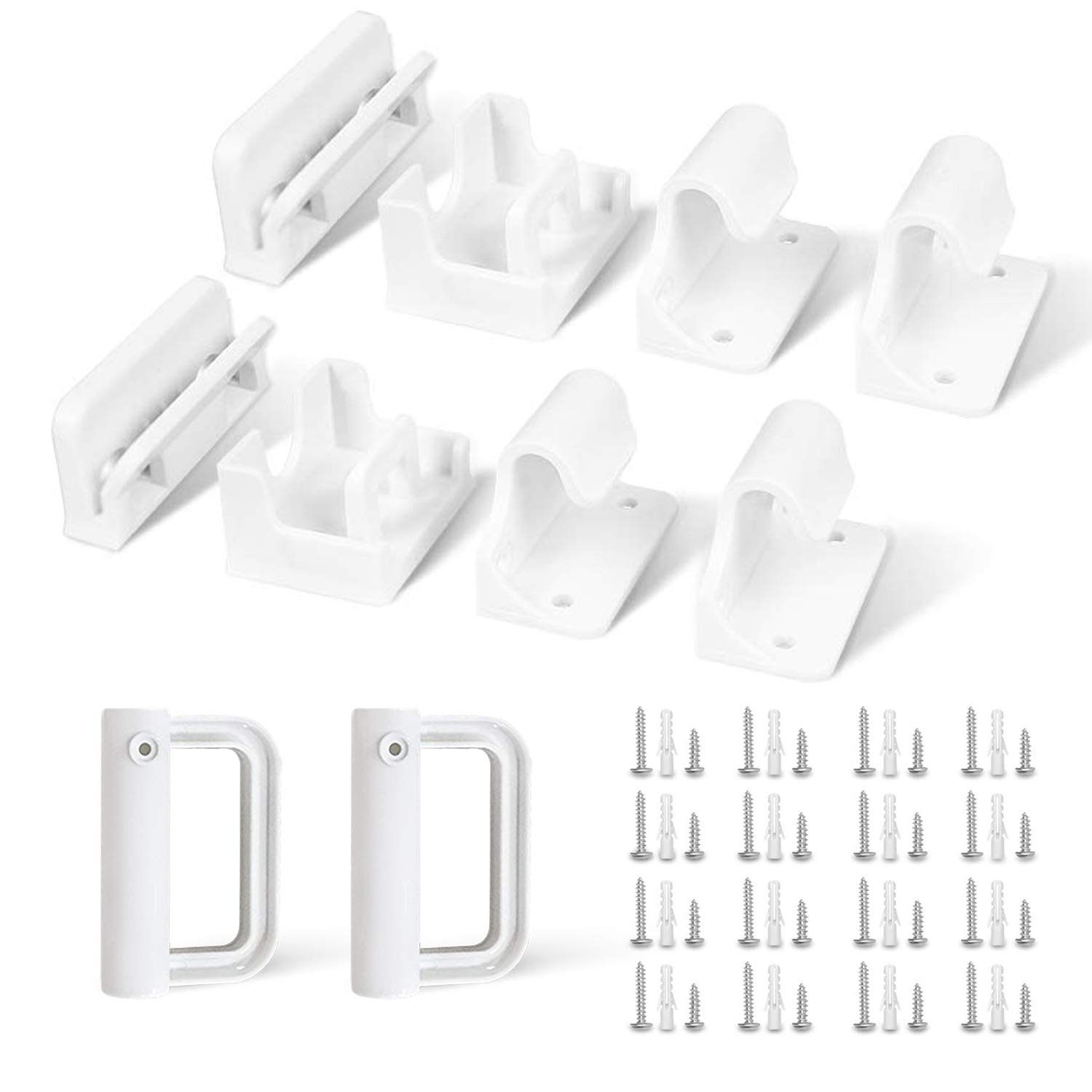 Betertek Hardware Replacement Accessories Brackets for Retractable mesh Baby and pet Gates Full Set Wall Mounting Parts Kit.