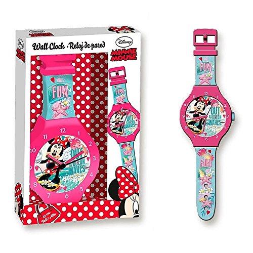 Minnie Horloge Murale | Horloge pour Enfants | Rose | 47,0 cm | Disney Mouse