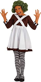 fun shack Girls Oompa Loompa Costume Kids Chocolate Factory Worker Dress Outfit - Large