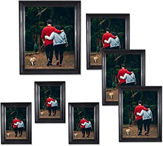 Photoboyz 7 Piece Black Picture Frames for Wall and Tabletop, Three 5x7, Three 4x6, One 8x10 Picture Frame Set