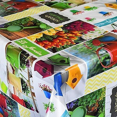 KEVKUS Hule Mantel Tulipanes Jardín Primavera Casita para Pájaros Patchwork B5005-01 - B5005-01, 140 x 260 cm Oval