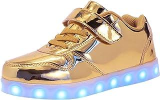 Garçon Fille LED Chaussures,7 Couleurs Lumineuse Clignotant USB Rechargeable Shoes Sneaker,de Sports Décontractée Disco Fê...