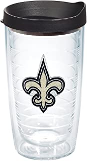 Tervis NFL New Orleans Saints Primary Logo Tumbler with Emblem and Black Lid 16oz, Clear
