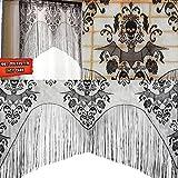 Kicode Black Skull Bat Web Curtain Valance Topper Shawl Halloween...