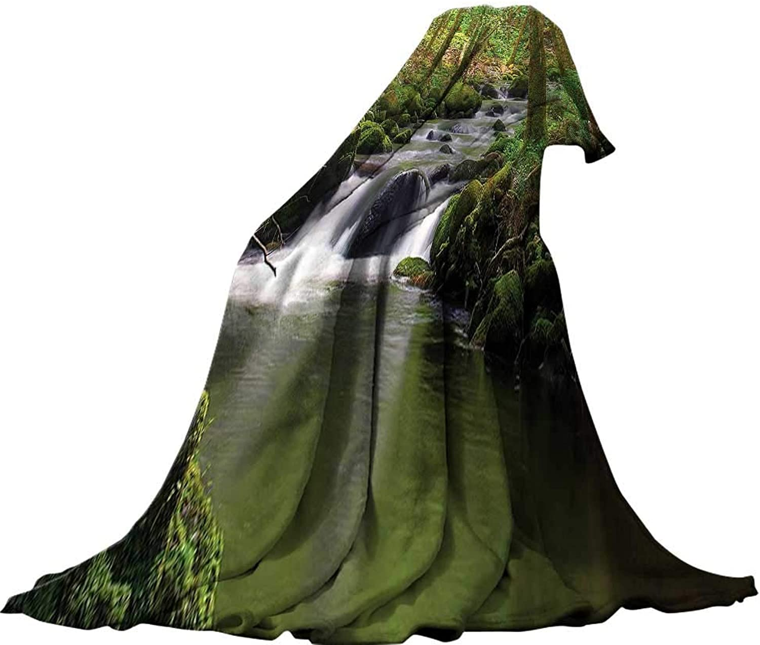 QINYAN-Home Warm Microfiber All Season Blanket (60 x60 ) Summer Quilt Comforter Lake House Decor Stream Flowing in The Forest Over Mossy Rocks Tree Foliage Splash Summertime Hiking.