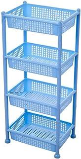 Étagères de rangement à 4 niveaux abordables Cadre de rangement bleu Grand plateau carré ouvert Étagères de rangement en p...