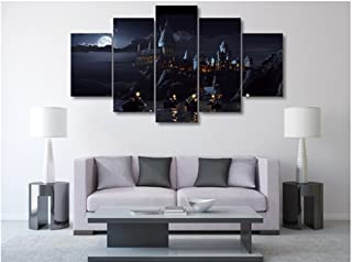 HAOSHUNDA 5 Pieces Harry Potter School Castle Wall Art Picture Home Decoration Living Room Canvas Print Wall Picture Printing On Canvas