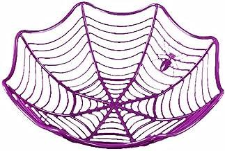 Spider Web Fruit Plaat Halloween Decoratie Creative Candy Biscuit Fruits Candy Mand Bowl Voor Halloween Party Decor (purpl...
